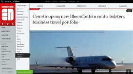CemAir opens new Bloemfontein route, bolsters business travel portfolio